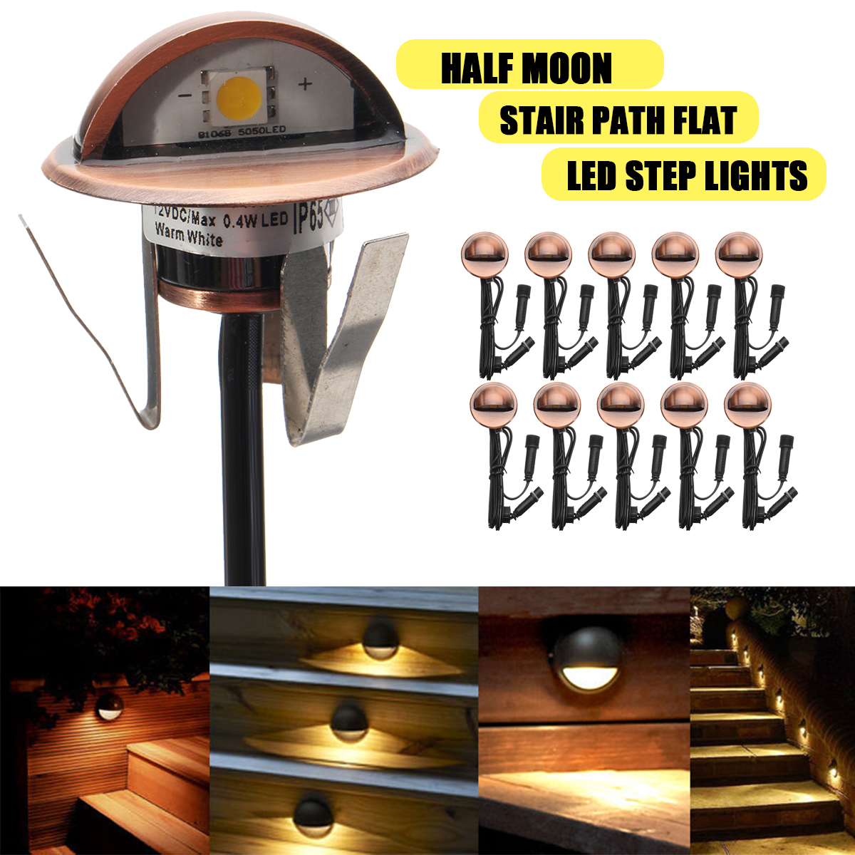 10Pcs 12V Half- moon LED Step SMD5050 IP65 Light Indoor Outdoor For Garden Stair Recessed Landscape Pathway Park Decor Lamp 10pcs led deck light waterproof stainless steel recessed underground lamp dc12v spotlight stair pathway garden light