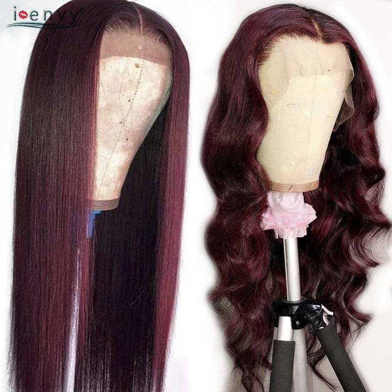 Burgundy Lace Frontal Human Hair Wigs Natural Hailine Colored 99J Brazilian Wig Straight Lace Frontal Wigs Black Woman Non Remy(China)