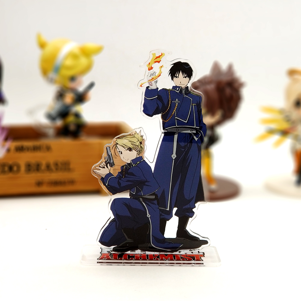 Love Thank You Fullmetal Alchemist Roy Mustang Riza Hawkeye acrylic stand figure model plate holder cake topper anime fire cool