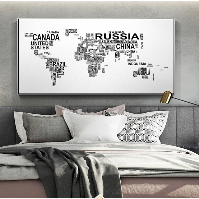 Letters world map wall art canvas abstract black and white art words letters world map wall art canvas abstract black and white art words world map posters and gumiabroncs Image collections