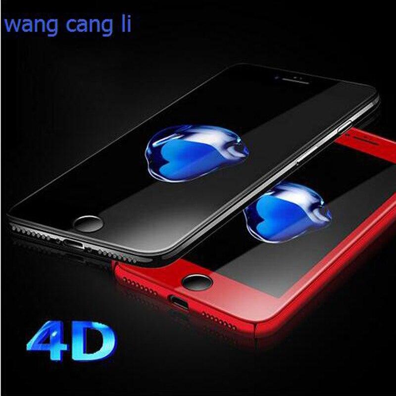 imágenes para 5 unids wangcangli 4d protectores de pantalla para iphone 6 6s7 7 plus nuevo para el iphone 7 4d actualización templado de cristal tallado de vidrio en frío cubierta