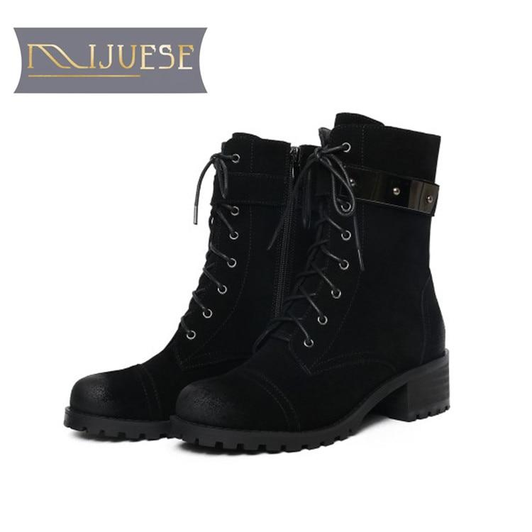 MLJUESE 2019 kobiety kostki buty krowa skóra zasznurować retro buty na niskim obcasie zimowe krótkie pluszowe buty ocieplane buty damskie w Buty do kostki od Buty na  Grupa 1