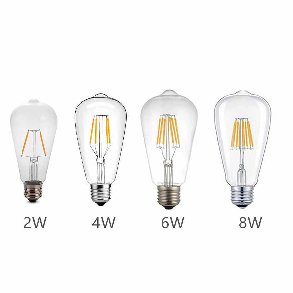 LED Blub E27 AC220V ST64 Retro Edison Filament Lamp Warm/Cold White 2W/4W/6W/8W Clear Glass Shell 360 Degree Angle Lighting