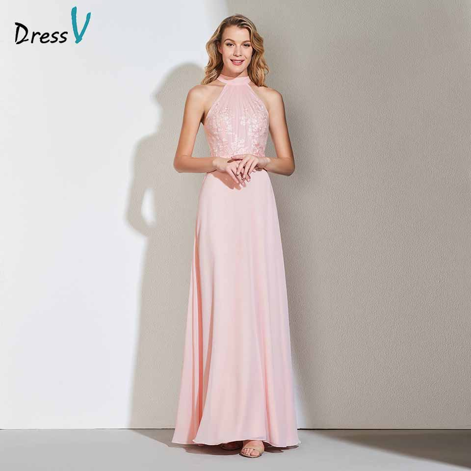 Dressv pearl pink prom dress halter neck a line sleeveless appliques ...