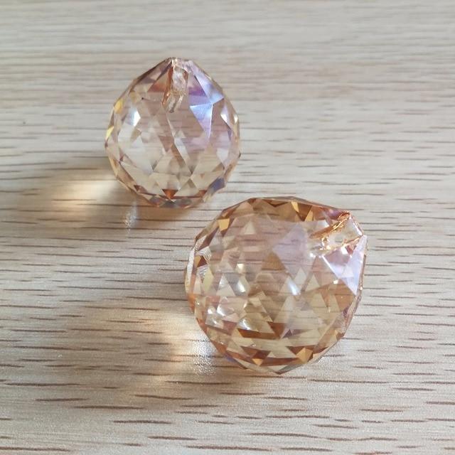 30mm 204 Pieces Golden Peach Colored Chandelier Prisms