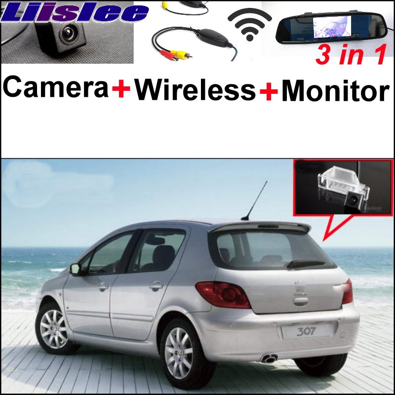Liiislee Special Rear View Camera + Wireless Receiver + Mirror Monitor Parking System For Peugeot 307 Hatchback 307cc 2001~2014 3 in1 special rear view camera wireless receiver mirror monitor back up parking system for citroen ds3 ds 3 2009 2015