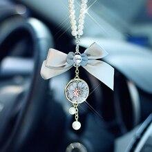 Подвеска для автомобиля, модное украшение в виде цветка с бантом, подвесное украшение, очаровательное автомобильное внутреннее зеркало заднего вида, подвеска в подарок