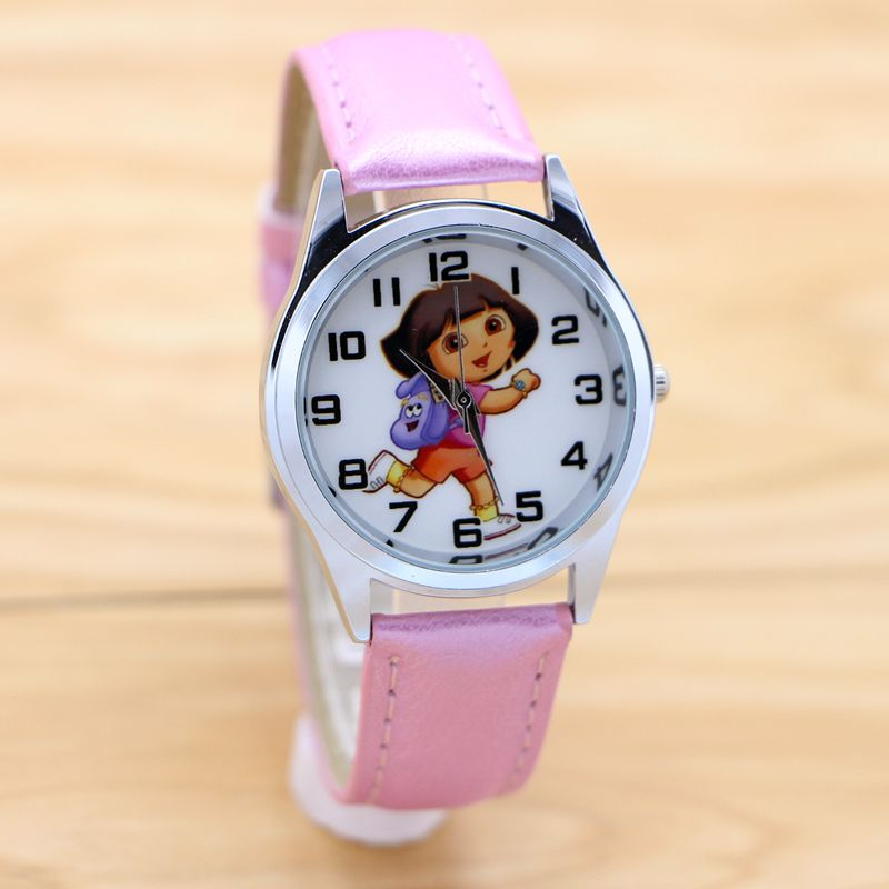 купить women children pretty Dora the Explorer Girl cartoon lovely watch Best fashion casual simple quartz round leather watch по цене 186.73 рублей