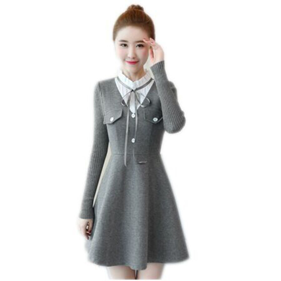 dd5562003d0 High Neck Winter Women Dress Work Warm Knit Fashion Business Casual Woman  Tunic Vintage Navidad Kaftan Female Gowns P5C1006-in Dresses from Women s  Clothing ...