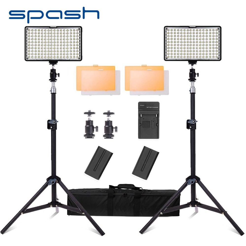 spash 160 LED Video Light Studio Lighting Lamp 2 in 1 Kit Dimmable 3200K/5600K Professional Photographic Lighting Set TL-160S