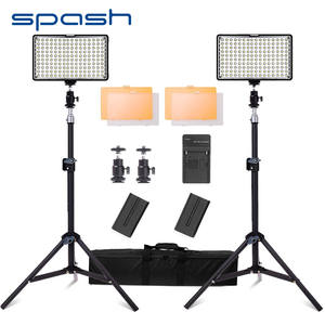 spash 160 LED Video Light Studio Lighting Lamp 2 in 1 Kit Dimmable 3200K/5600K Professional Photographic Lighting Set TL-160S
