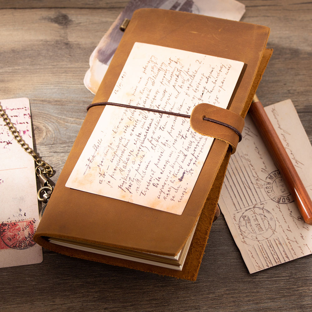 Special Gift Traveler Mini Notebook Diary Leather Crazy Cowhide Cute Spiral Genuine Leather Travel Journal Planner Brown