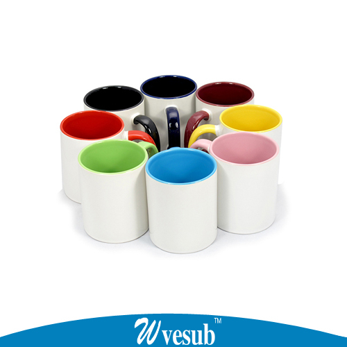 36pc sublimation mugs white coated ceramic cup 11oz candy color