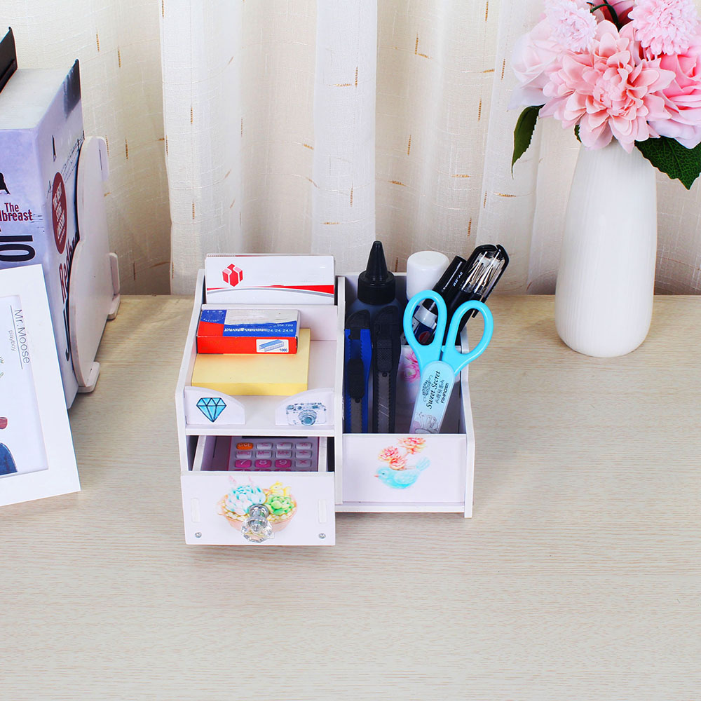 Office Desk Multi-Purpose DIY Storage Box Water-resistent Pen Pencil Holder Cosmetics Makeup Organizer Container Case