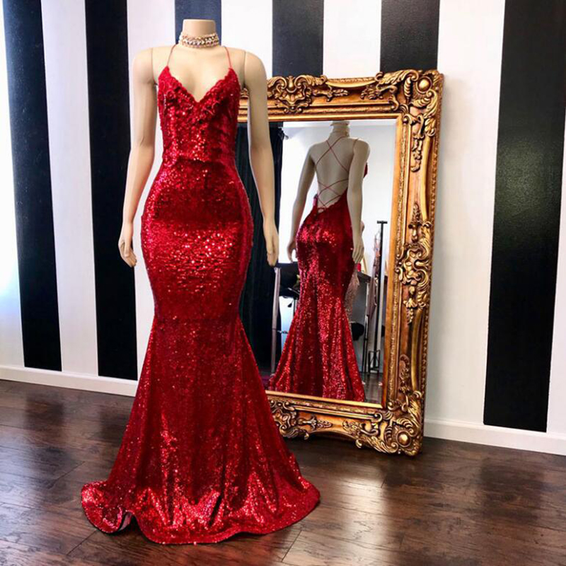 Sparkly Sequin Prom Dresses Long 2020 Real Sample V-neck Sexy Backless Custom Made Red Mermaid Prom Dress