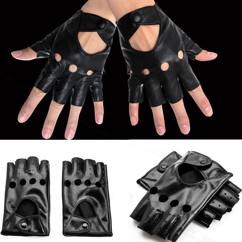 1 Pair New Arrival Cute Fingerless Gloves Women Black PU Leather Driving Gloves Half Finger