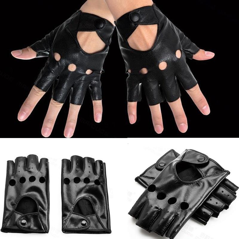 1 Pair New Arrival Cute Fingerless Gloves Women Black PU Leather Driving Gloves Half Finger