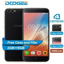 DOOGEE X30 Mobile phone Android 7.0 Quad Cameras 2x8.0MP+2x5.0MP 3360mAh 5.5'' HD MTK6580A Quad Core 2GB RAM 16GB ROM Smartphone