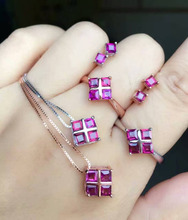 Natural red garnet gem jewelry sets natural gemstone Pendant Earrings ring 925 silver Elegant Simple square women Office jewelry