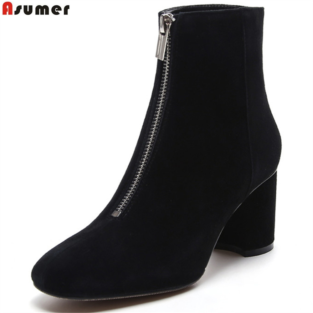 Asumer 2018 black apricot fashion women boots square toe kid suede ladies boots zipper square heel leather ankle boots asumer fashion new women boots round toe zipper ladies genuine leather boots square heel keep warm cow leather mid calf boots