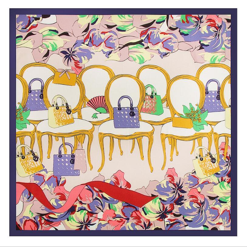 Apparel Accessories Tireless New Spring 60x60cm Fashion Style 100% Silk Twill Scarf Women Lady Bag Chair Pattern Neckerchief Bandana Small Square Scarf