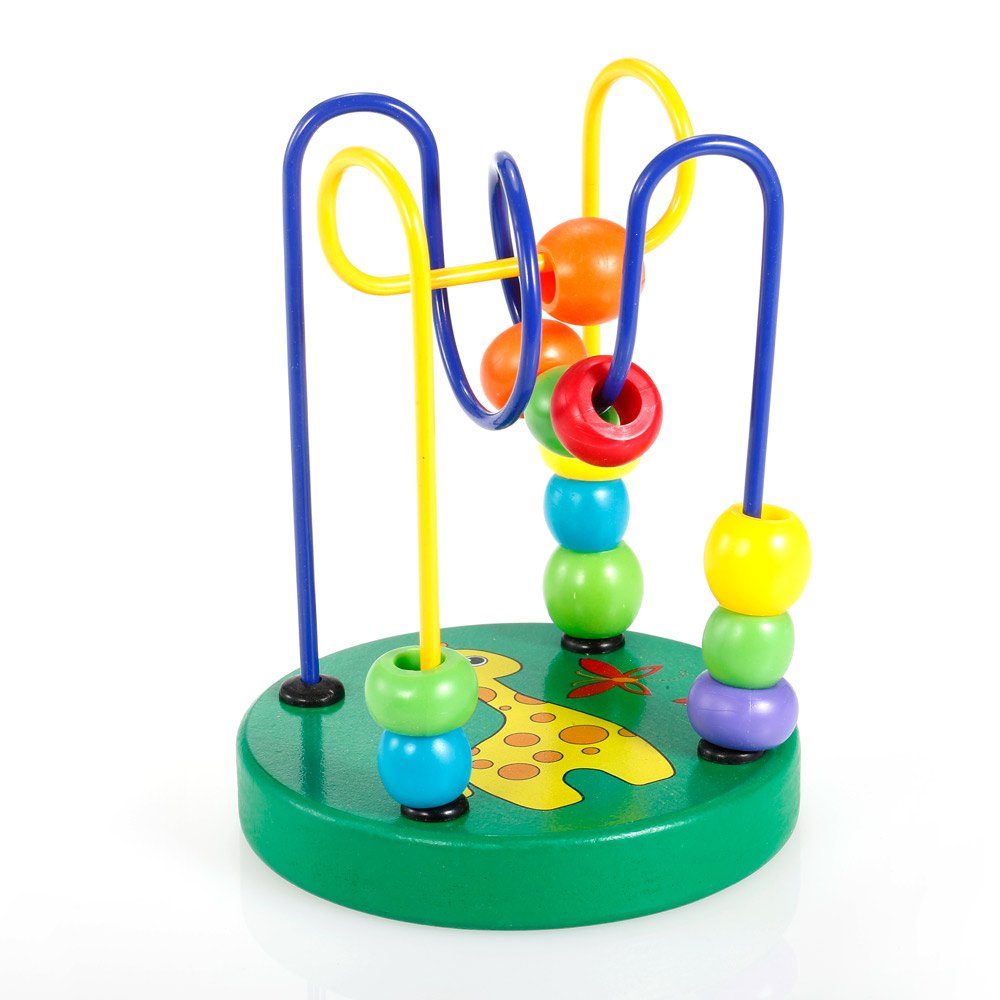Wooden Cartoon Animal Chassis Circle Mini Beads Maze