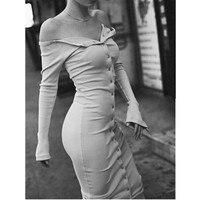 Vintage OFF Shoulder Button Bodycon Mid Calf Sexy Autumn Dress Vestido De Festa Curto Robe Jurken