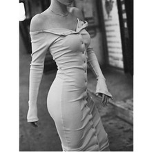 Vintage OFF Shoulder Button bodycon mid-calf Sexy Autumn Dress Vestido de festa curto robe jurken Dresses 4 colors