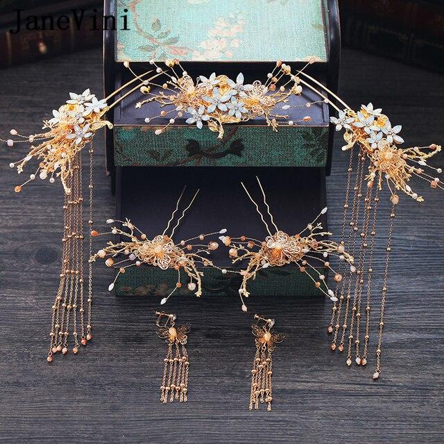 JaneVini מסורתי סיני שיער מקלות כלה סיכות עתיק זהב Hairwear חרוזים תלבושות כלות חתונה תכשיטי אבזרים