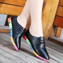 2018 new breathable genuine leather flats shoes woman sneakers tenis feminino nurse peas flats shoes plus size women shoes gu89
