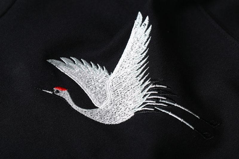 Embroidery Japanese Crane Hoodies 4