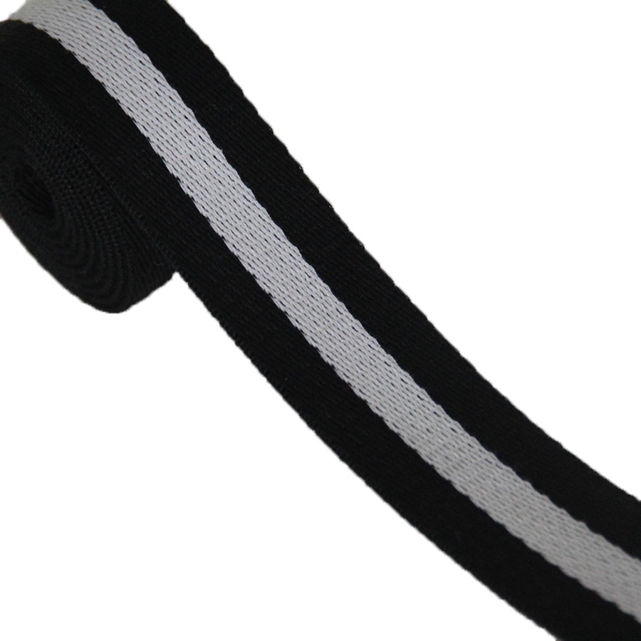 high quality black/white color polyester webbing strap 2.1mm heavy duty thick cotton webbing tape on sale