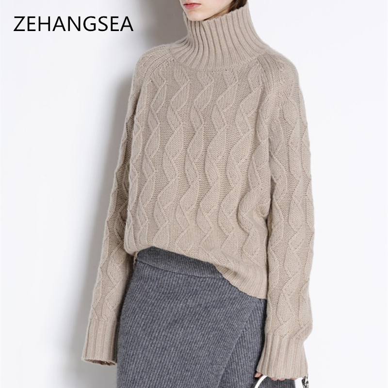 Cashmere sweater winter new ladies high collar loose large size warm comfortable pullover solid color simple elegant women's