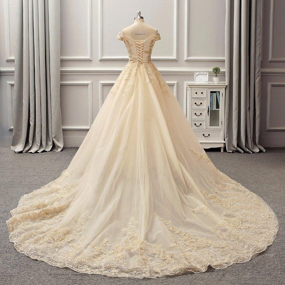 Arabia Dubai 3D Lace Light Gold Color Wedding Dresses Empire Bridal ...
