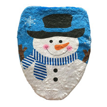1Pcs Blue Happy White Snowman Bathroom Toilet Seat Cover Toilet Lid for New Year Xmas Christmas Decoration Home Free Shipping