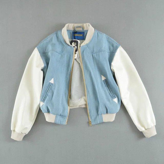 Printemps et été nouvelle mode rue à manches courtes veste femmes, lâche colorblock Denim veste femmes