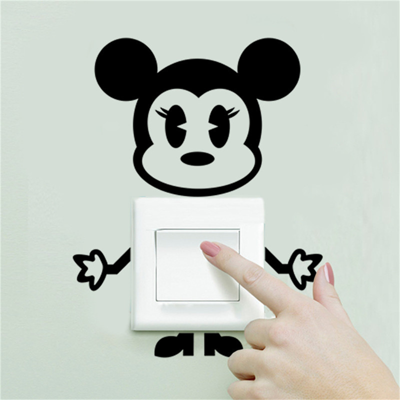 ZooYoo Cute Mickey Mouse Cow Switch Stickers For Nursey Kids Room Switch Decoration Decals Vinyl Art Wall Murals
