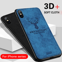 Wholesale products Cloth Phone Case For iPhone xs MAX Luxury Elk Deer Soft Tpu Case for Iphone 7 6 6s 8 plus X XR Back Cover rugged tpu case for iphone 11 pro max case iphone x xs xr 6 6s plus 7 plus 8 plus iphone11 11pro cloth back cover elk deer shell