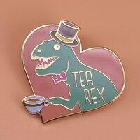 Tea rex enamel pin gentleman dinosaur brooch creative bow top hat Tyrannosaurs pins cute art badge funny tea lover gift