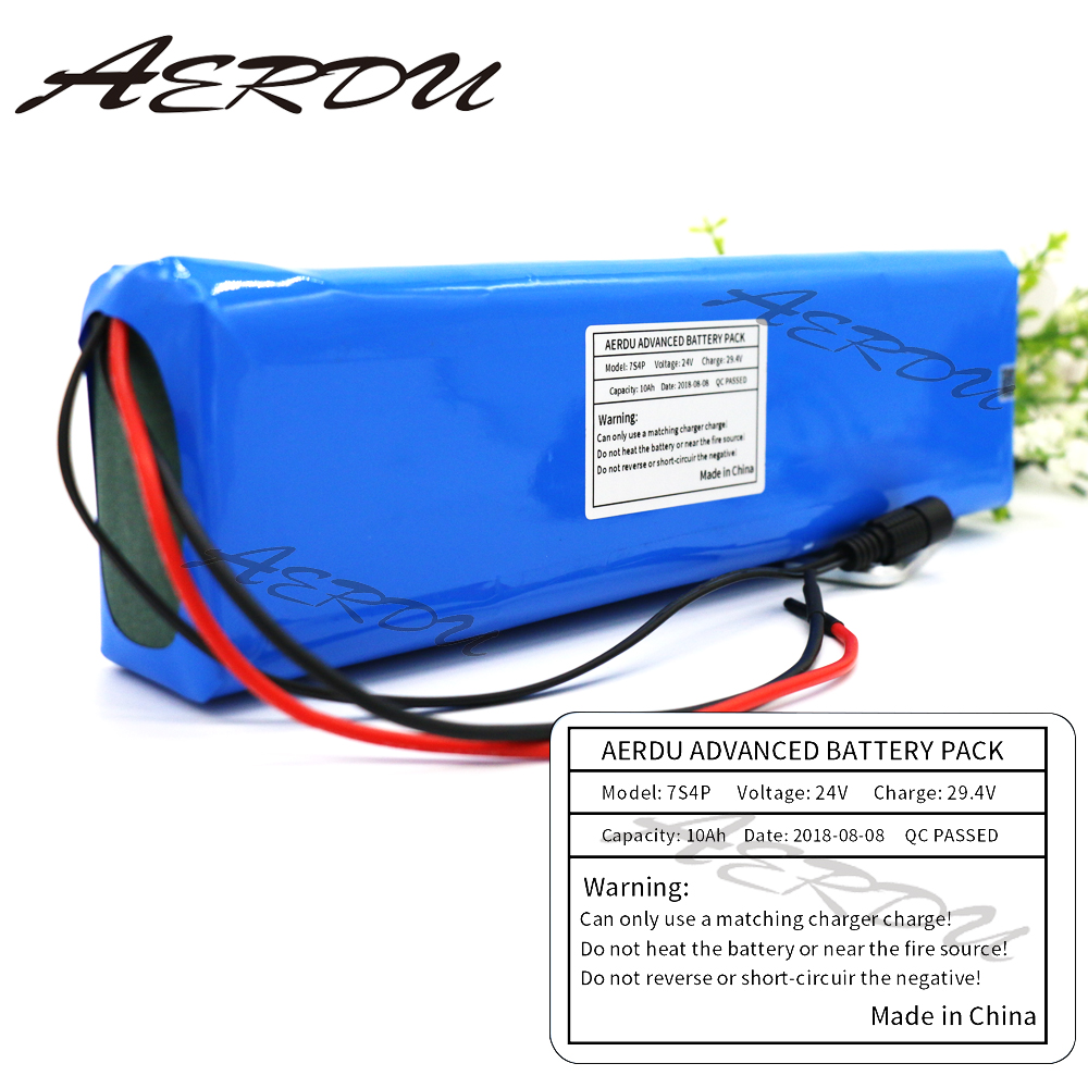 AERDU 7S4P 24V 10Ah 29.4V Li-ion Battery Pack with 15A BMS For Electric moped ebike Scooters light bicycle power wheelchair 24v 10 ah 6s5p 18650 battery lithium battery 24 v electric bicycle moped electric li ion battery pack