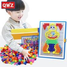 QWZ 296pcs Mosaic Picture Puzzle Kids Composite Intellectual Educational Mushroom Nail Kit Flashboard Toys Brinquedos Juguetes