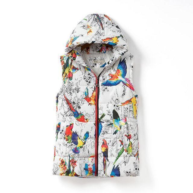 Подлинная дамы жилет куртка 2016 Женщин Корейский Попугай печати жилет короткий параграф Slim Down Капюшоном Жилет XQ232
