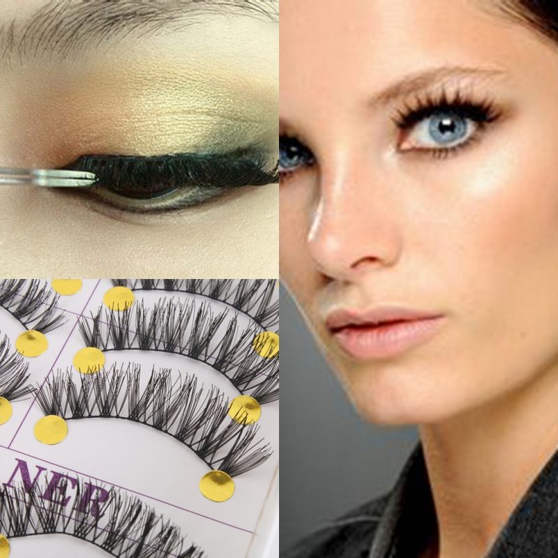 10pairs Long Thick Cross False Eyelashes Natural Makeup Fake Black