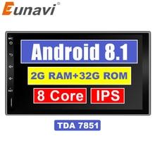 """Eunavi 7 """"2 Din Android 8.1 Car Rubinetto Tablet PC in dash 2din Universale 1024*600 di Navigazione GPS radio Stereo Audio Player (No DVD)"""