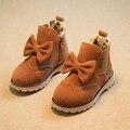 Девушки сапоги 2015 Зимой Дети снегоступы для Девочек Детей плоские Твердые Лук обувь Мода Резиновые Краткие Обувь малыша девушка сапоги