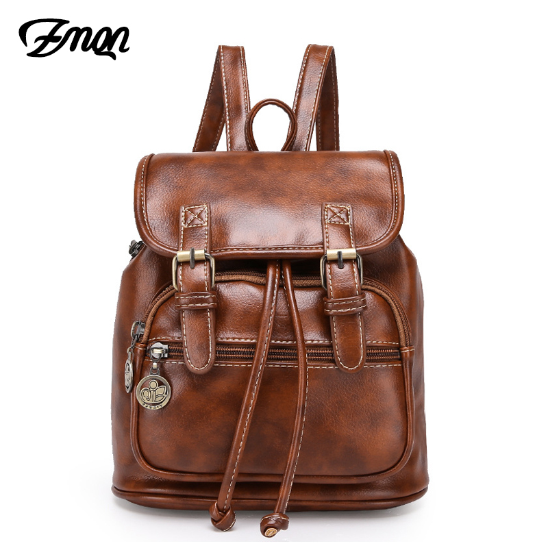 ZMQN Backpack Women Small Mochila Feminina 2019 Brown High Quality Vintage Bags For Women Zipper Leather Backpack Bagpack C109