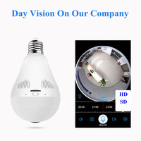 PENGBO 2MP 1080 Full HD Fishbone 360 Degree Panoramic Lamp Bulb Light WIFI IP Camera Two