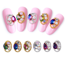 цены 10pcs Japanese Retro Rhinestone Diamond Gems AB Crystal Glitter Nail Art Decoration 3D Metal Glitter Crystal Colorful Nail Gems