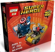 LEPIN 07028 DC Hero Mighty Micros Captain America/Red Skull Minifigures Building Block Toys Decoration Compatible with Legoe