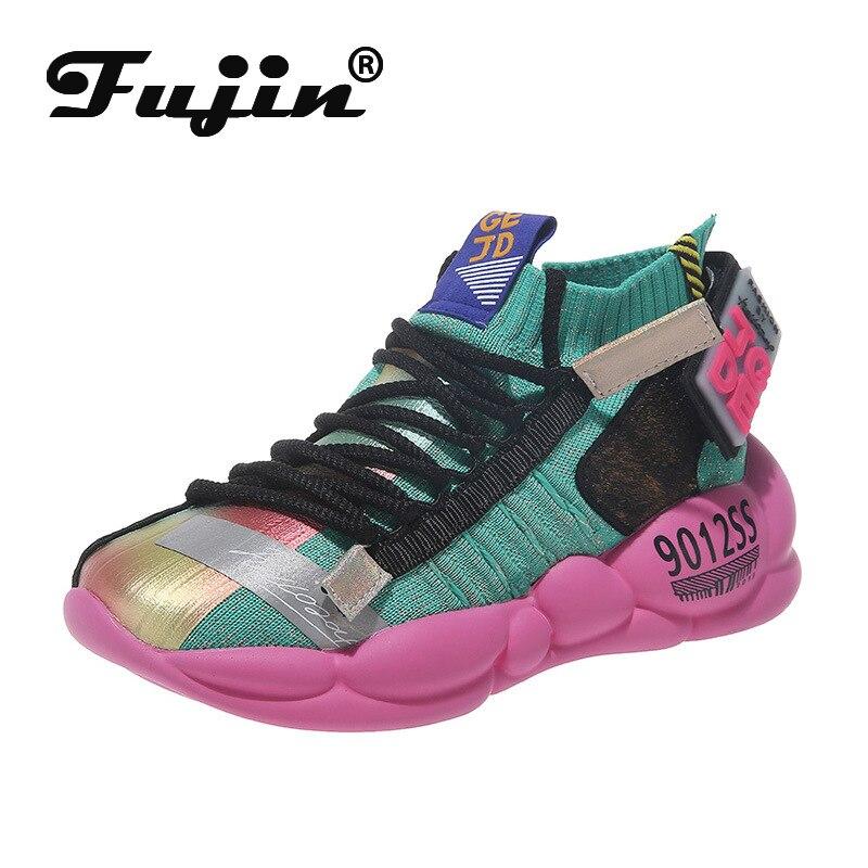 Fujin 2019 women sports shoes flat vulcanize platform casual shoes for women breathable high quality sports shoes for women